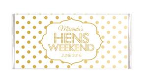 Gold Polkadot Personalised Hens Night Chocolate Bar
