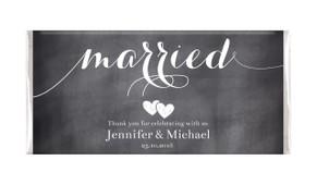 Flowing Text Chalkboard Wedding Personalised Chocolates