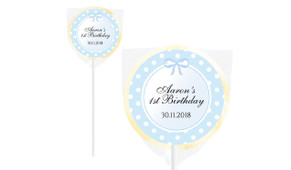 Blue Polkadot Design On Ivory Lollipop