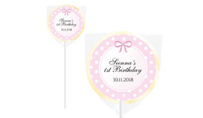Pink Polkadot Design On Ivory Lollipop