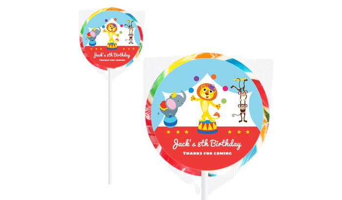 Circus Animals On Rainbow Lollipop