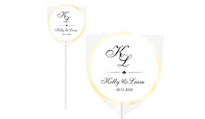 Black Initials Personalised Wedding Lollipops