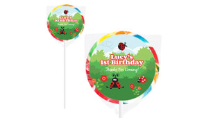 Lady Bug Design On Rainbow Lollipops