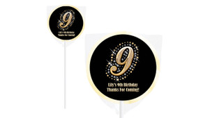 Diamonds & Gold Number On Ivory Lollipops