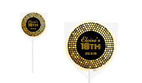 Gold Disco Personalised Lollipop