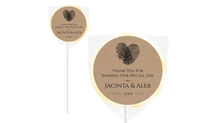 Fingerprints On Kraft Paper Wedding Lollipops