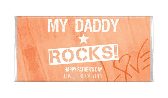 Daddy Rocks Father's Day Custom Chocolate Bar
