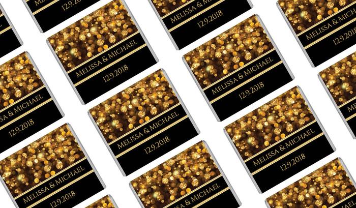 Gold Bokeh Wedding Mini Chocolates