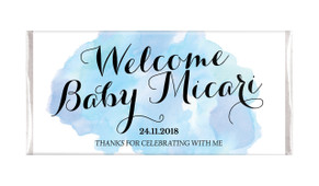A Splash Of Watercolour In Blue Birth Announcement Chocolates