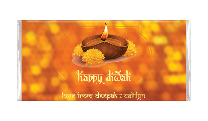 Bokeh Candle Diwali Custom Chocolates