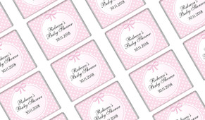 Polkadots On Pink Baby Shower Mini Chocolates