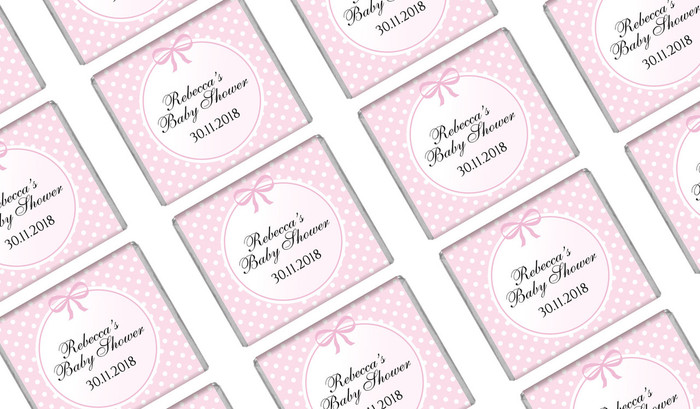 Polkadots On Pink Baby Shower Mini Chocolates