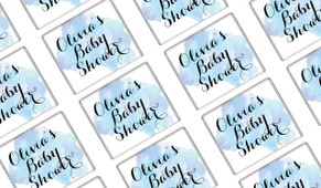 A Splash Of Watercolour In Blue Baby Shower Mini Chocolates