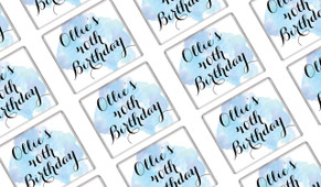 A Splash Of Watercolour In Blue Birthday Mini Chocolates