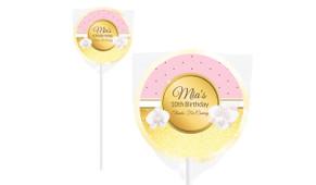 Pink & Gold Design On Ivory Lollipop