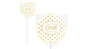 Polkadots In Gold Design On Ivory Lollipop