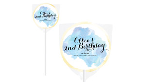 A Splash Of Watercolour In Blue Birthday Personalised Lollipops