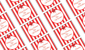 Stripes In Red Personalised Christmas Mini Chocolates