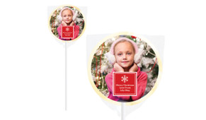 A Photo With Square Christmas Personalised Lollipops