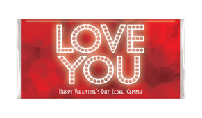 Glowing Love You Valentines Day Chocolate Bar