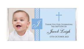 Initial In Blue Christening Personalised Chocolate Bar