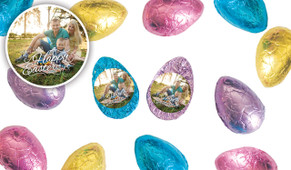 A Happy Easter With Photo Chocolate Half Eggs
