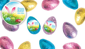 Bunny In The Meadow Personalised Chocolate Half Easter Eggs