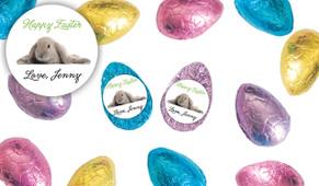 Floppy Eared Bunny Personalised Chocolate Half Easter Eggs