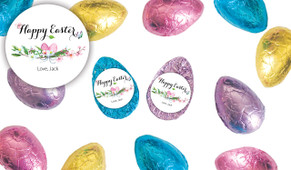 Floral Water Colour Personalised Chocolate Half Easter Eggs