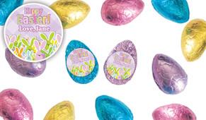Fluffle Of Bunnies Personalised Chocolate Half Easter Eggs