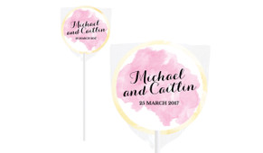 A Splash Of Pink Watercolour Personalised Wedding Lollipops