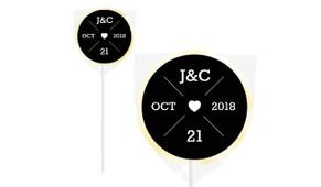 Date Circle In Black Personalised Wedding Lollipops