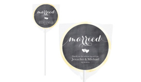 Flowing Words On Chalkboard Personalised Wedding Lollipops