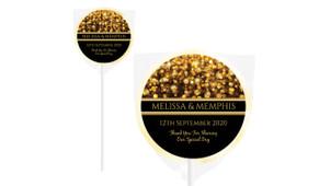 Gold Bokeh Personalised Wedding Lollipops