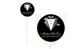 Groom And Bride Suit Personalised Wedding Lollipops