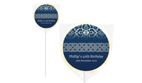 Regal Navy Blue Personalised Lollipops