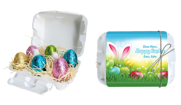 Bunny In The Meadow Personalised Easter Egg Carton