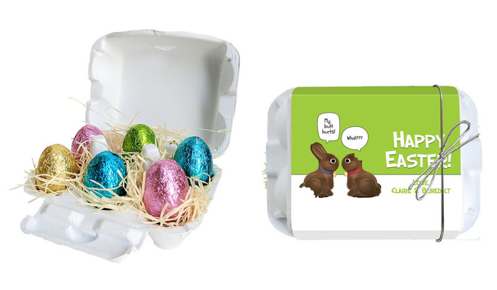 Chocolate Bunnies Personalised Easter Egg Carton