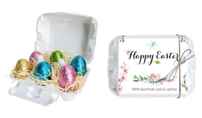 Floral Watercolour Personalised Easter Egg Carton