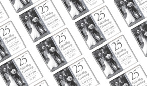 Add A Photo On Silver Personalised Anniversary Mini Chocolates