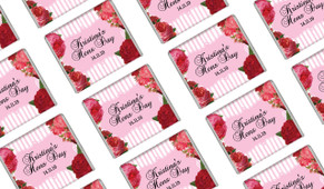 Roses Stripes Pink Personalised Hens Night Mini Chocolates