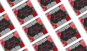 Roses Stripes Black Personalised Hens Night Mini Chocolates