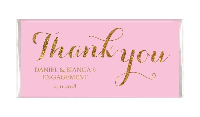 Golden Thank You Personalised Engagement Chocolates