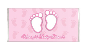 Baby Feet In Pink Baby Shower Personalised Chocolate Bar