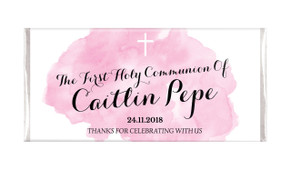 A Splash Of Water Colour Pink Custom Holy Communion Chocolates