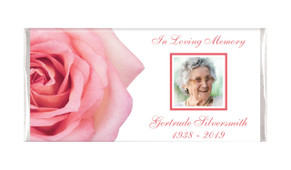 Pink Rose Photo Personalised Funeral Memorial Chocolates