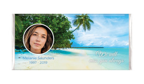 Tropical Island Photo Funeral Memorial Chocolate Bars