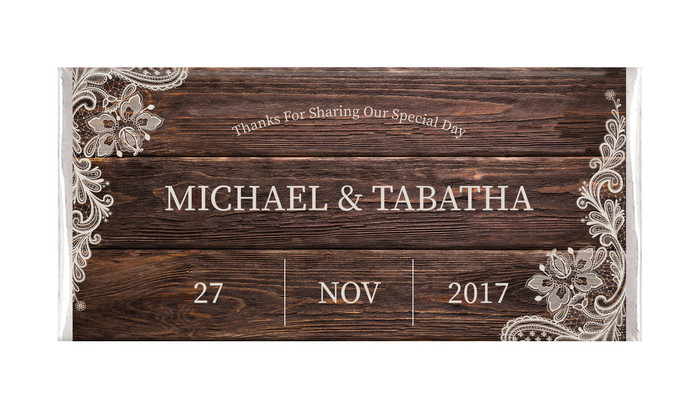 Old Wood & Lace Personalised Wedding Chocolates