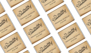 Old Dove Script Custom First Communion Mini Chocolates