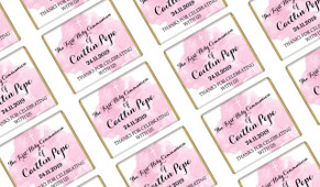A Splash Of Watercolour Pink Custom Communion Mini Chocolates